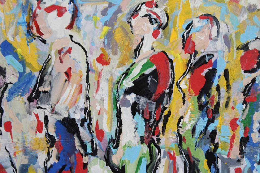 R. MONTI, Mid Century Oil/c Crowd Of People In Abstract - 2