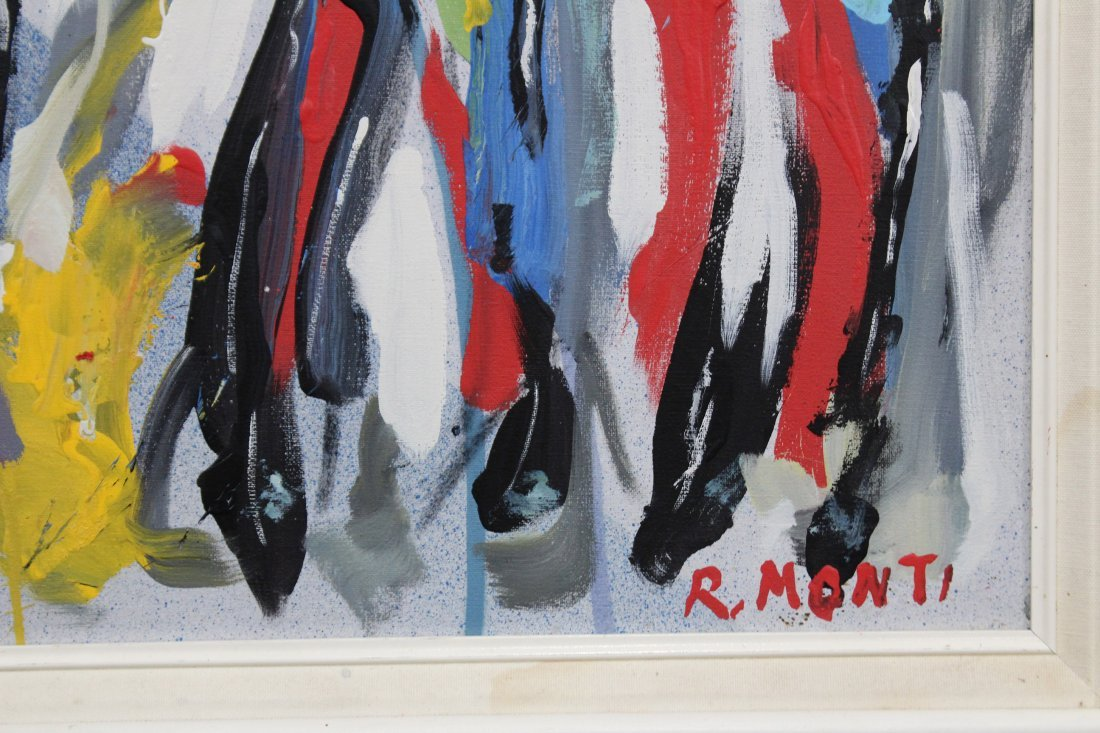 R. MONTI, Mid Century Oil/c Crowd Of People In Abstract - 3