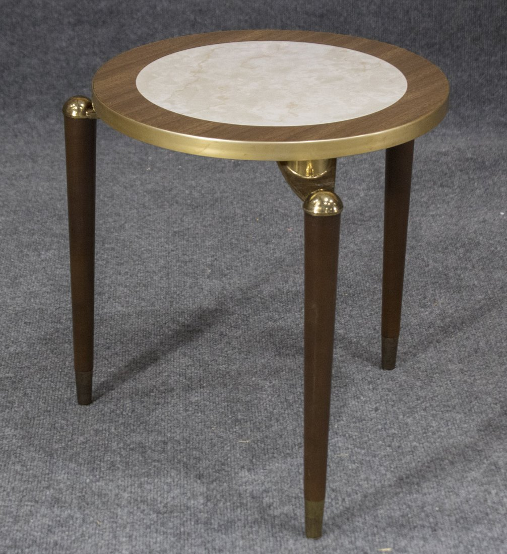 MID CENTURY MODERN SMALL ROUND TABORET STAND