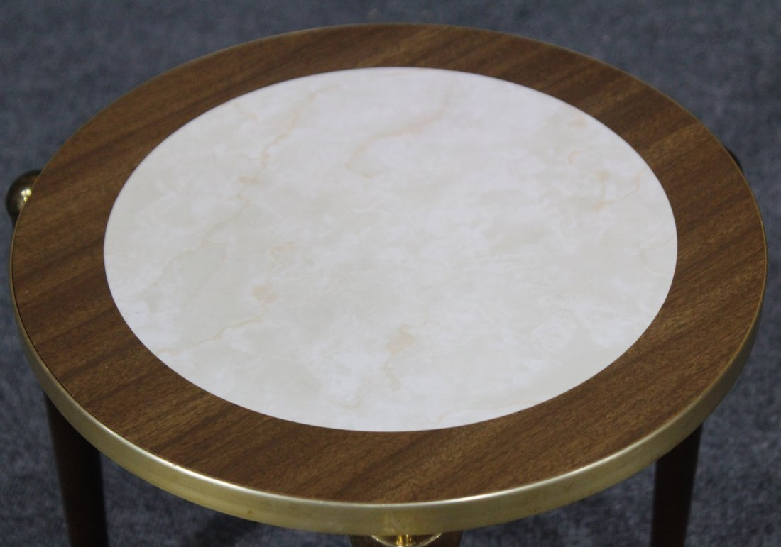 MID CENTURY MODERN SMALL ROUND TABORET STAND - 2