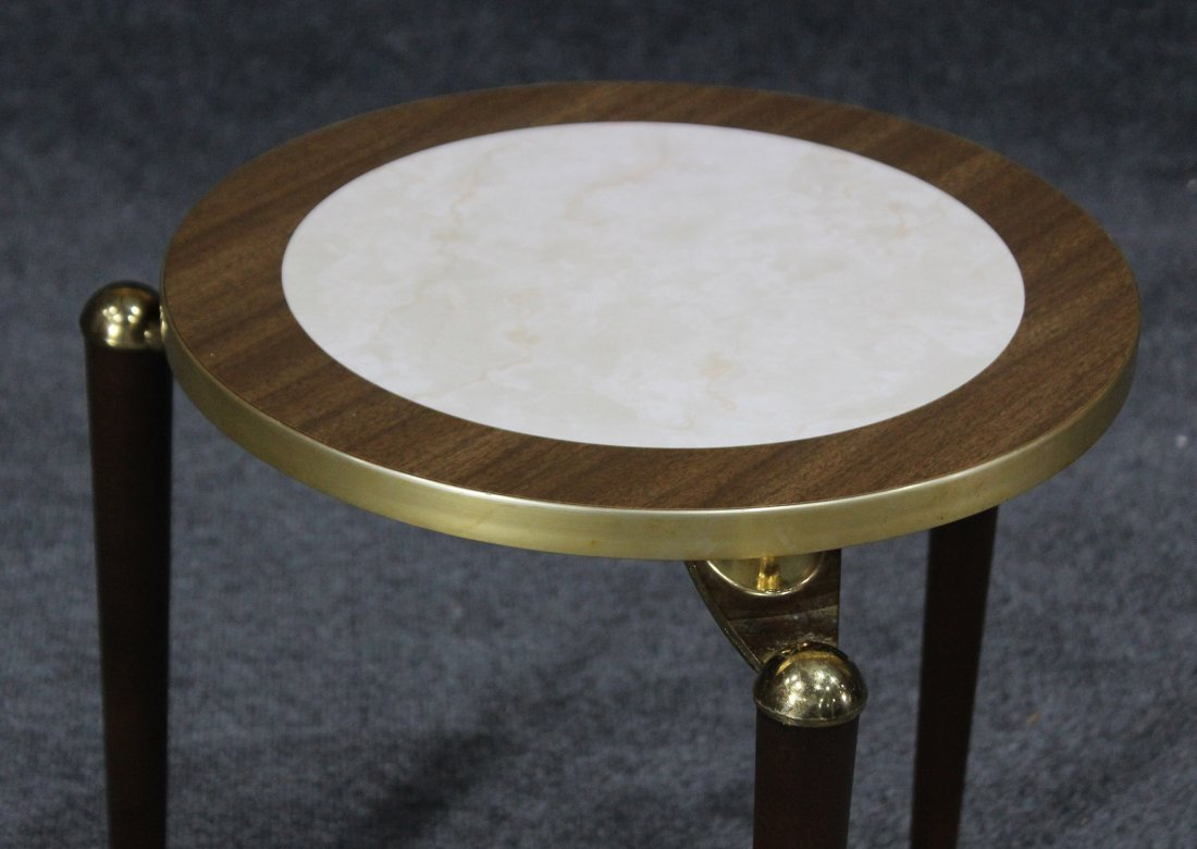 MID CENTURY MODERN SMALL ROUND TABORET STAND - 3