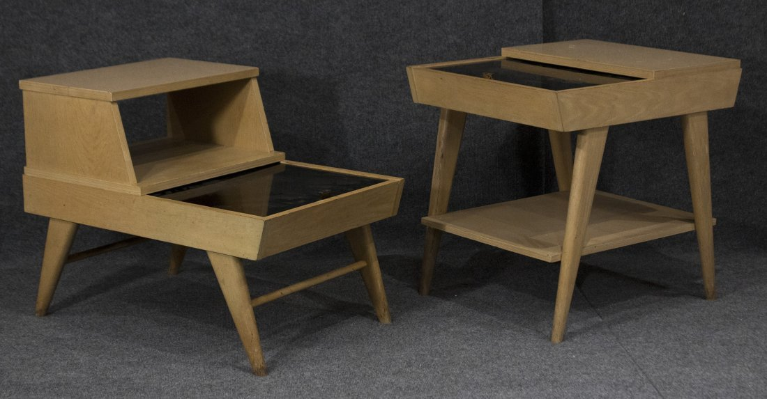 TWO STYLISH BLOND MID CENTURY MODERN END STANDS