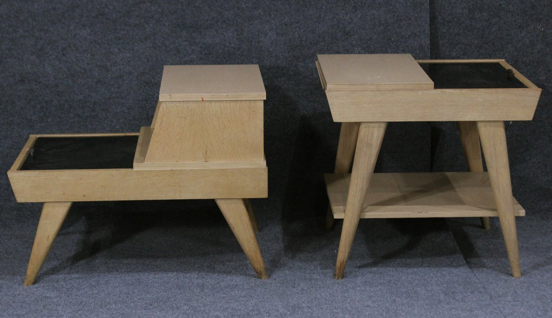 TWO STYLISH BLOND MID CENTURY MODERN END STANDS - 6