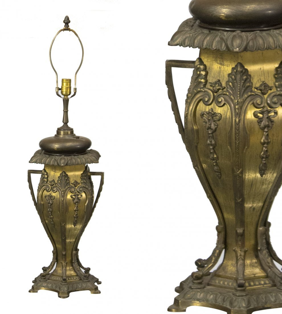BRADLEY AND HUBBARD Brass Ornate BANQUET LAMP BASE
