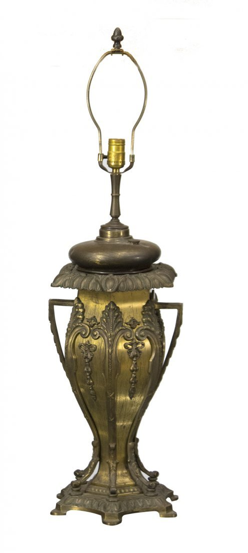 BRADLEY AND HUBBARD Brass Ornate BANQUET LAMP BASE - 2