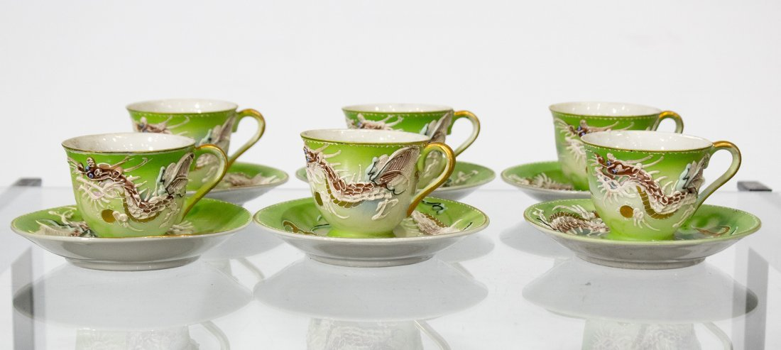 WALES CHINA Japanese Dragon Motife Set Six Cups Saucers