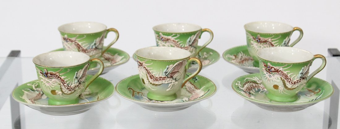 WALES CHINA Japanese Dragon Motife Set Six Cups Saucers - 2