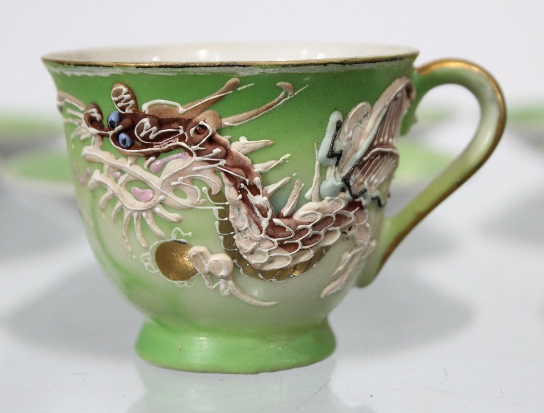 WALES CHINA Japanese Dragon Motife Set Six Cups Saucers - 3