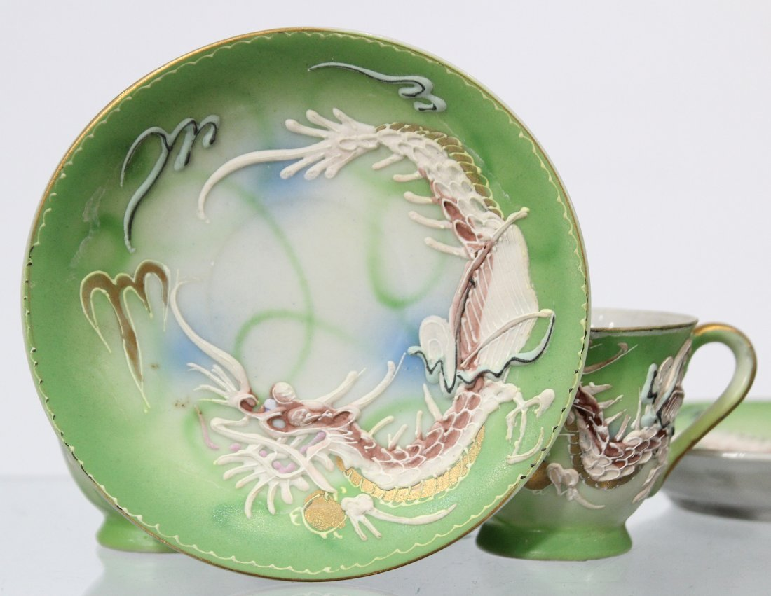 WALES CHINA Japanese Dragon Motife Set Six Cups Saucers - 4