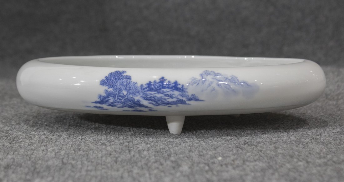Oriental Low Shallow Footed Bowl Blue And White Scenic