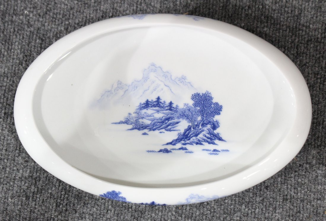 Oriental Low Shallow Footed Bowl Blue And White Scenic - 2