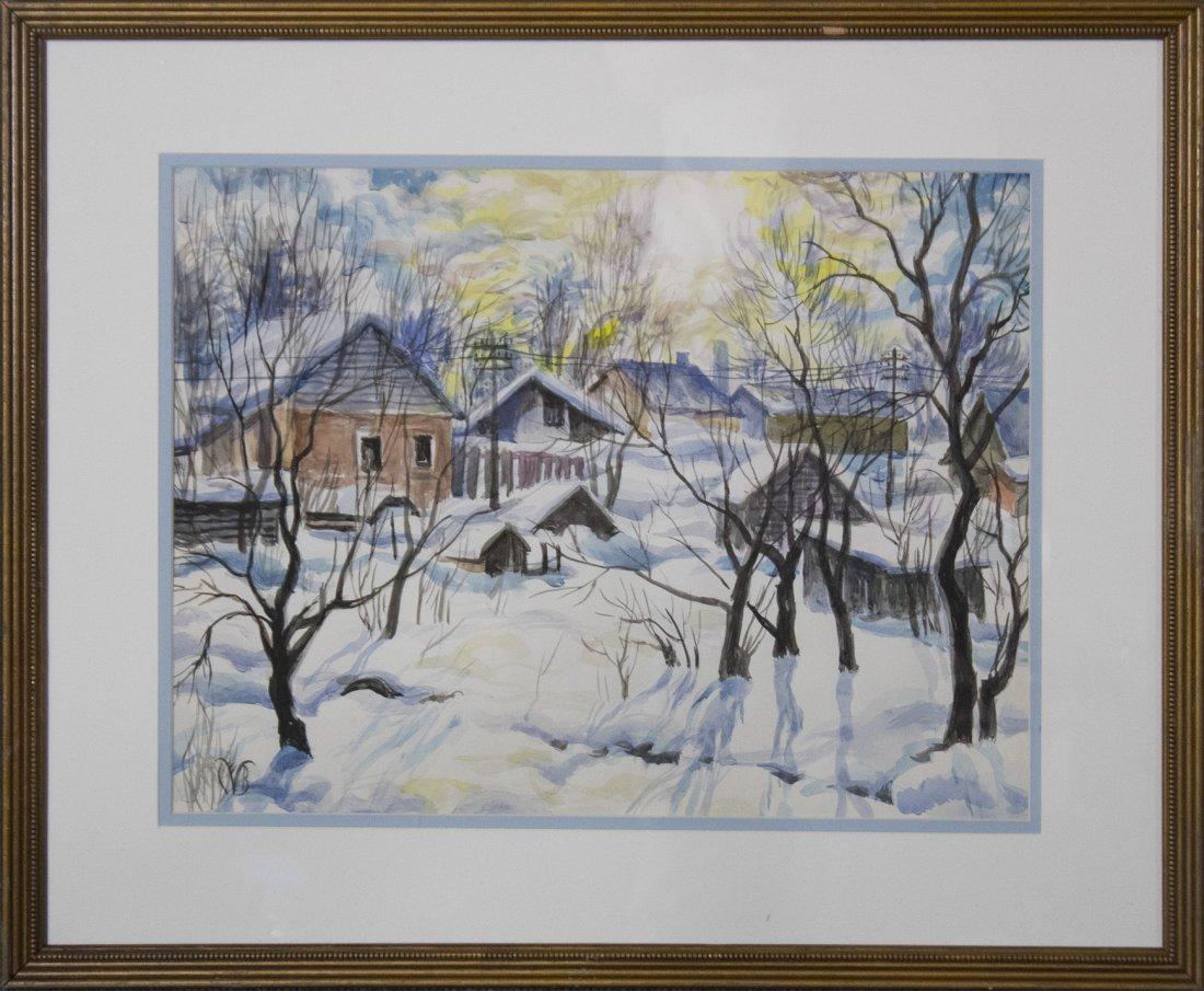 CHARLES BURCHFIELD  (1893 - 1967) RURAL TOWN FRESH SNOW
