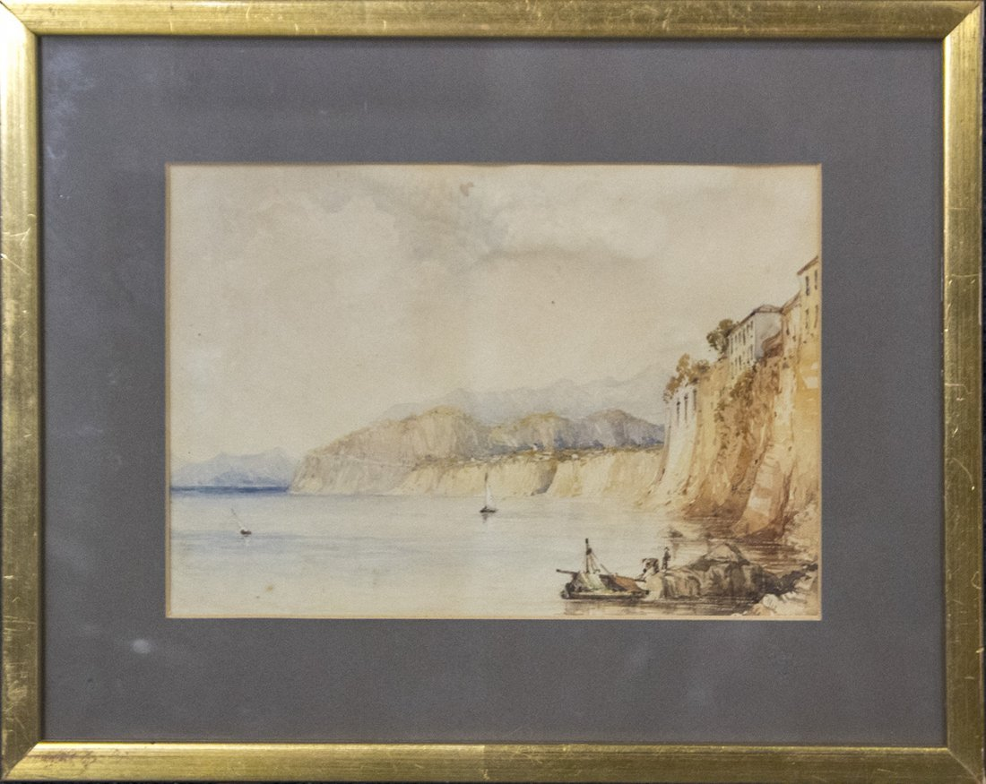 Circa 1900 WATERCOLOR FISHING BOAT CLIFF SIDE VILLA