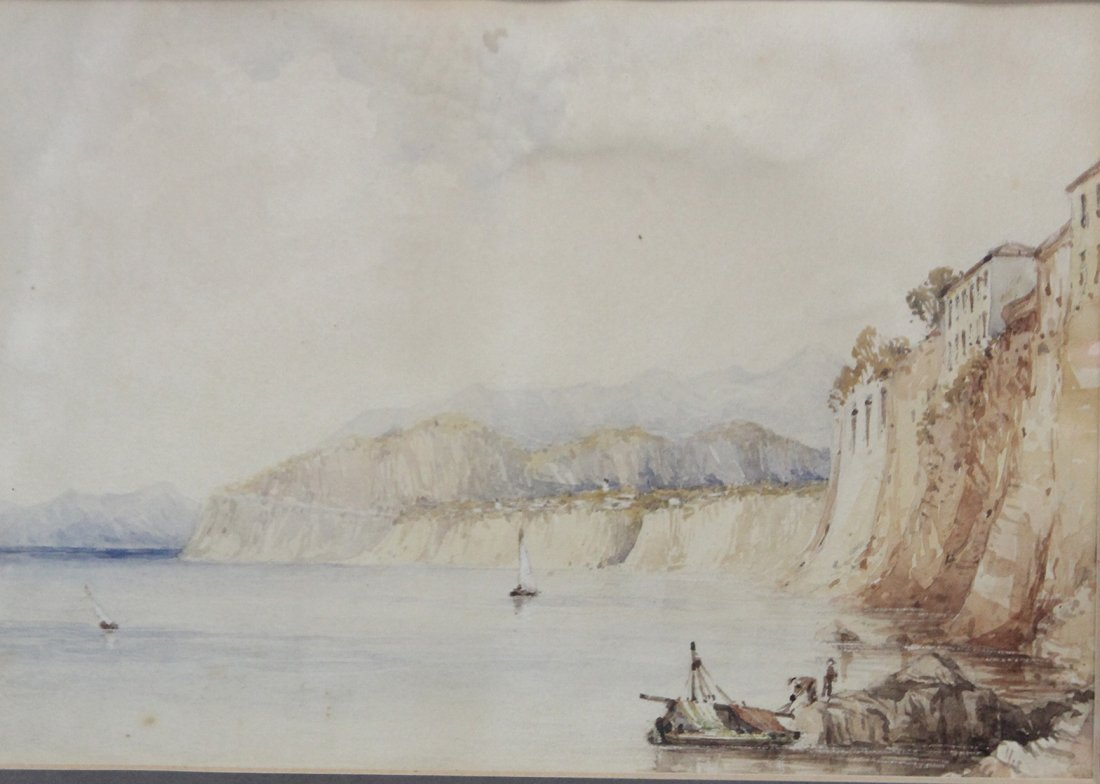 Circa 1900 WATERCOLOR FISHING BOAT CLIFF SIDE VILLA - 2