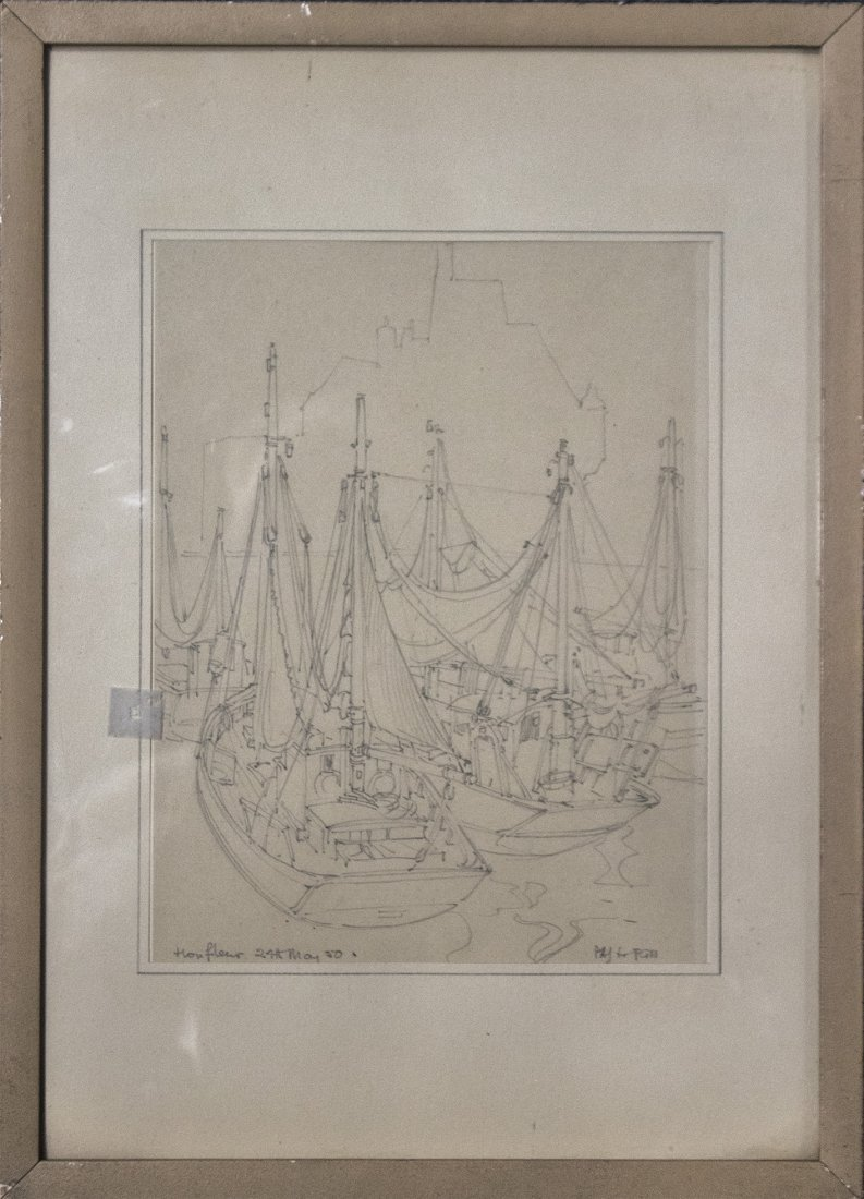 PENCIL SKETCH SAILBOATS SIGNED WITH INITIALS