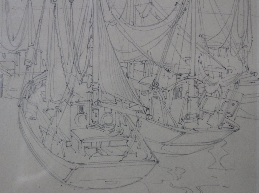 PENCIL SKETCH SAILBOATS SIGNED WITH INITIALS - 3