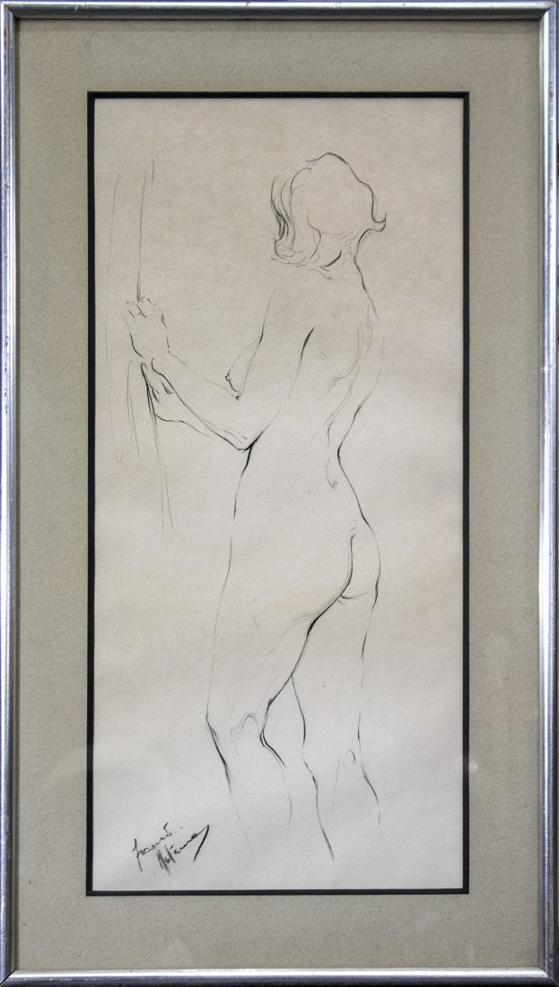 Signed Illegible GRAPHITE SKETCH STANDING NUDE FEMALE