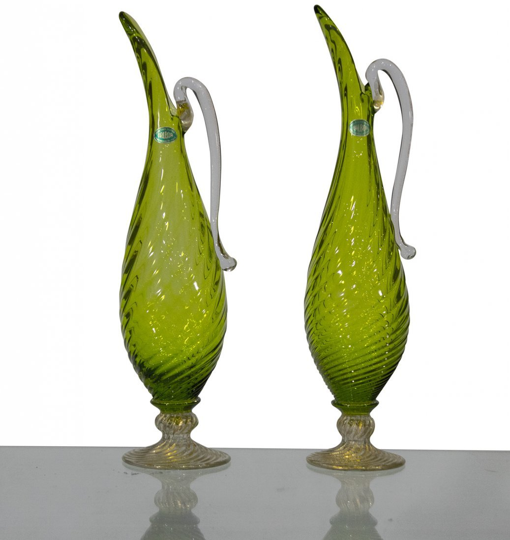 Pair BALBOA Green VENETIAN GLASS EWER PITCHERS