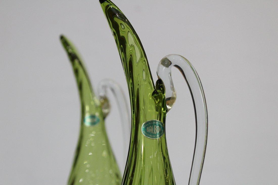 Pair BALBOA Green VENETIAN GLASS EWER PITCHERS - 3