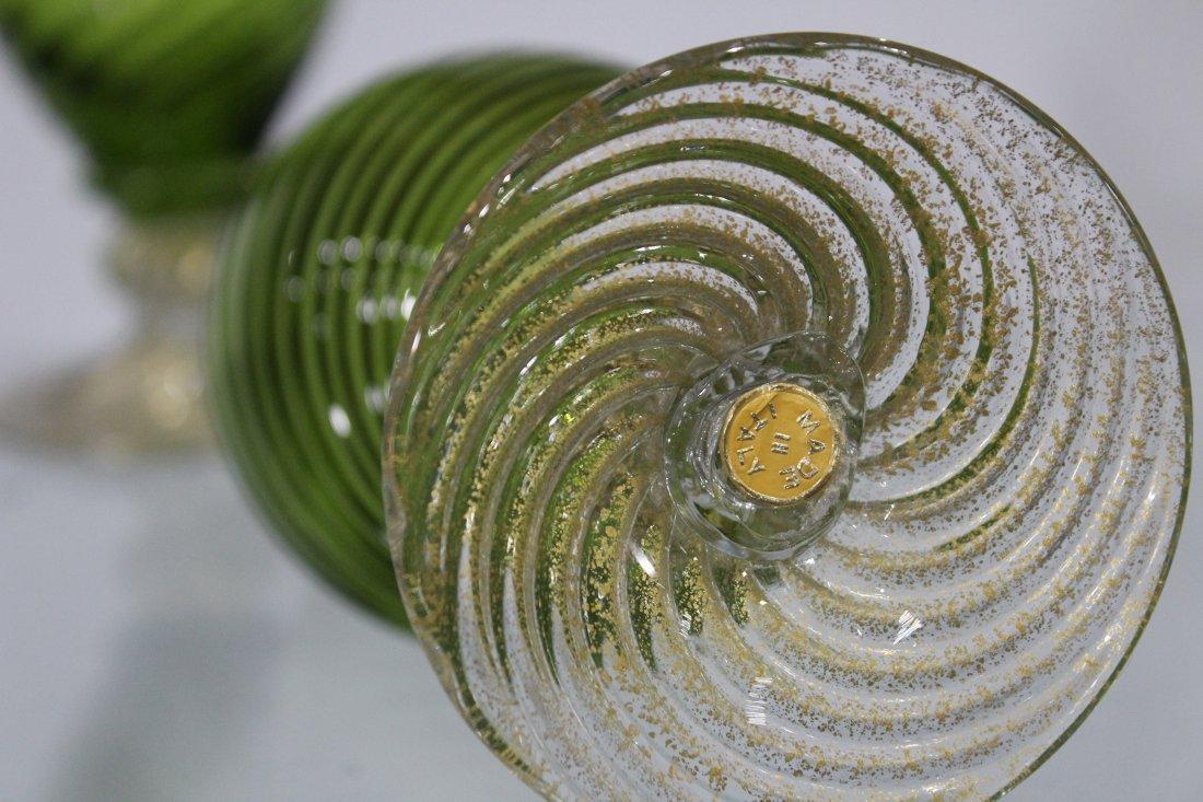 Pair BALBOA Green VENETIAN GLASS EWER PITCHERS - 5