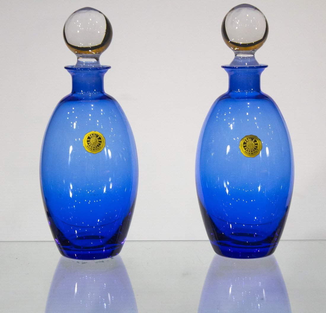 Pair ITALIAN COBALT BLUE GLASS BOTTLES CLEAR STOPPERS