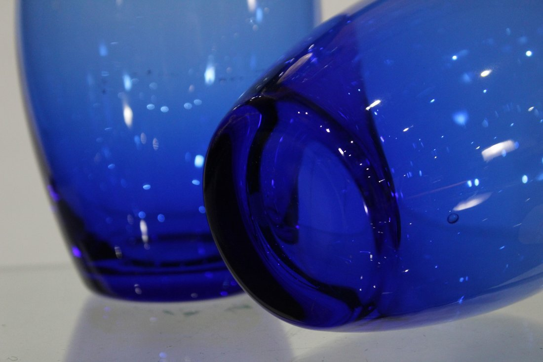 Pair ITALIAN COBALT BLUE GLASS BOTTLES CLEAR STOPPERS - 4