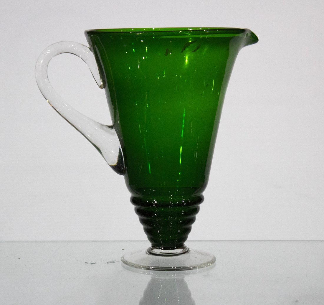 ROEMER GERMAN GREEN GLASS PITCHER WITH APPLIED HANDLE