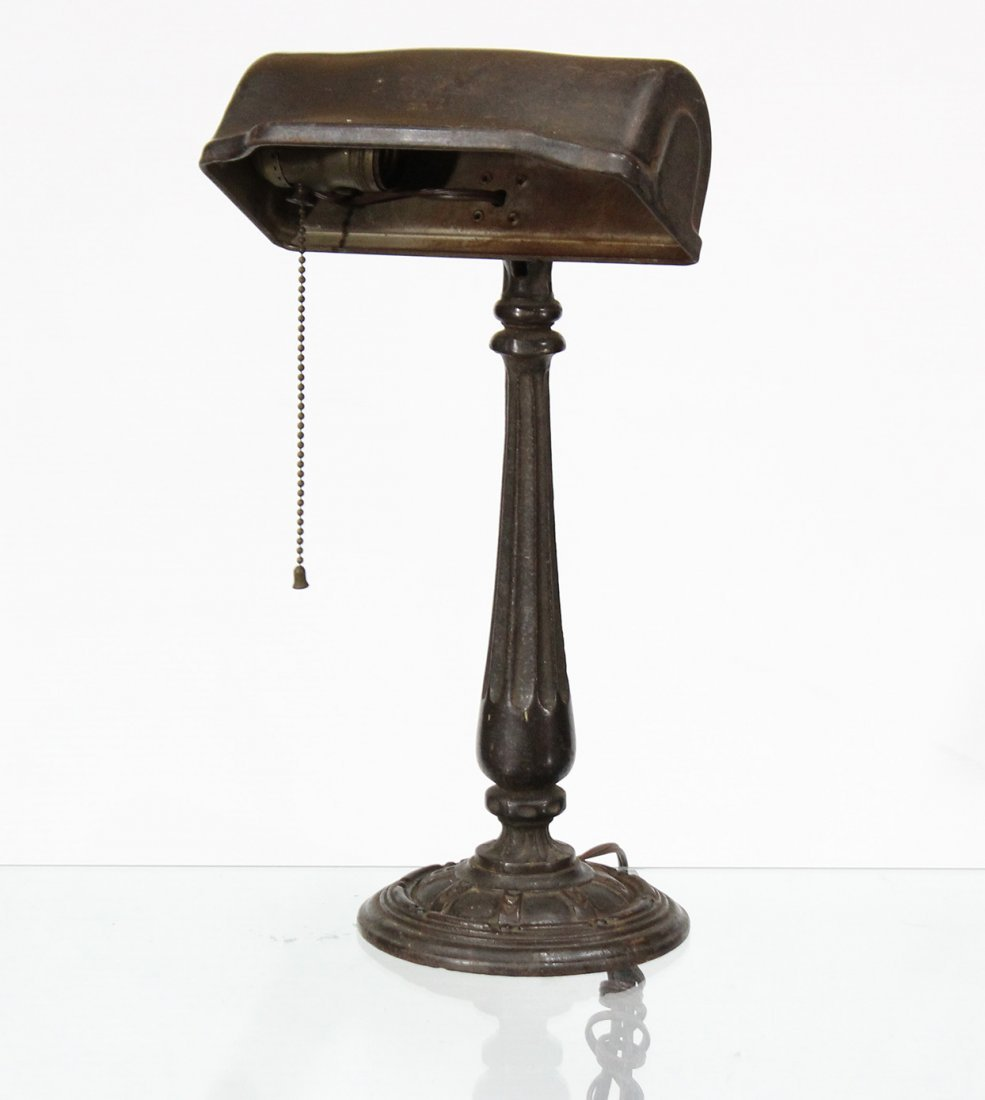 Circa 1920 BANKER'S LAMP Metal Shade Iron Base