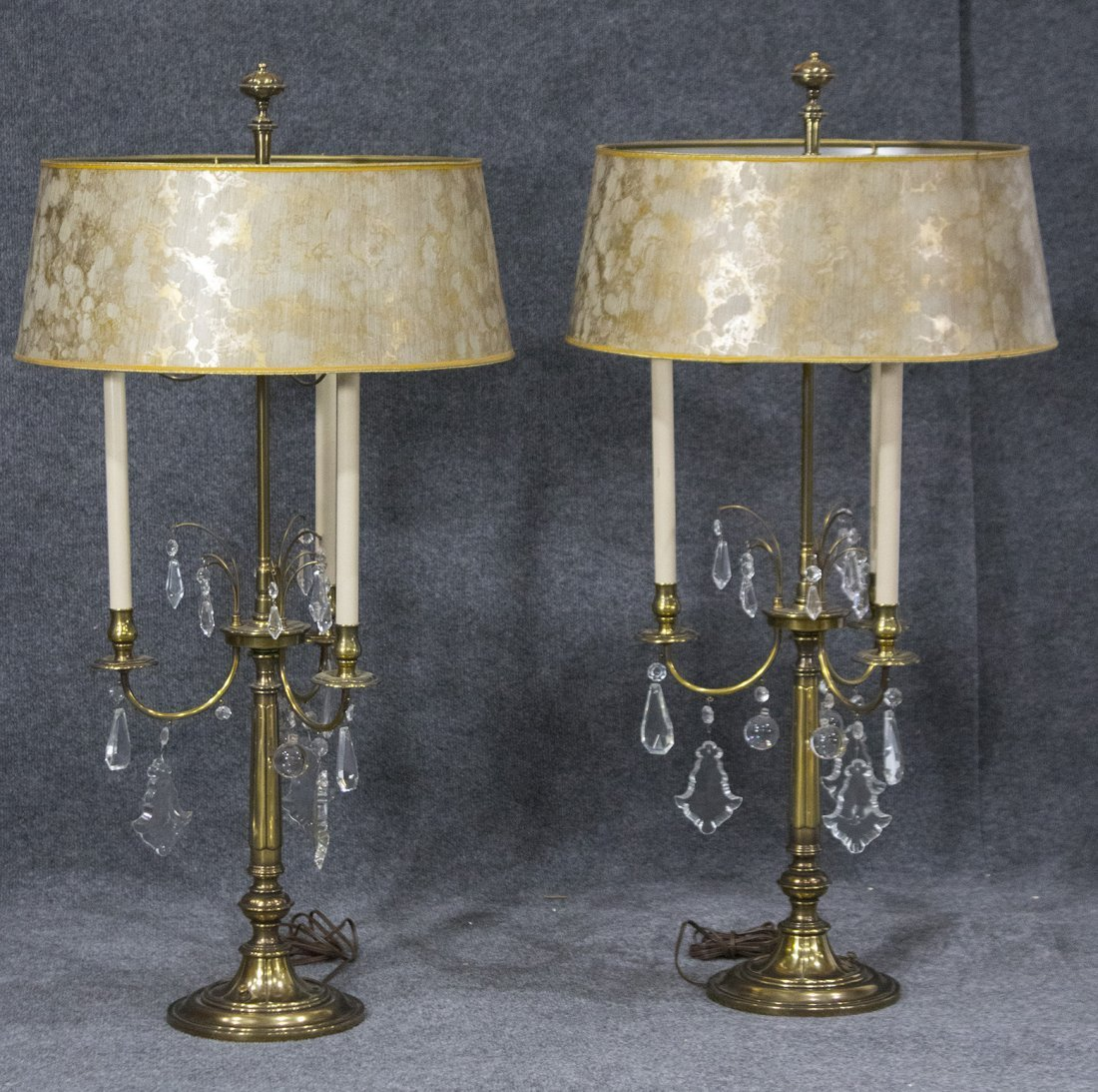 Pair Signed STIFFEL Quality 3-Arm TABLE LAMPS Prisms
