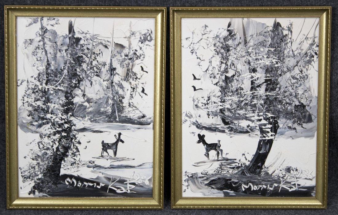 TWO [2] MORRIS KATZ Acrylic /b DEER IN WINTER CATSKILLS