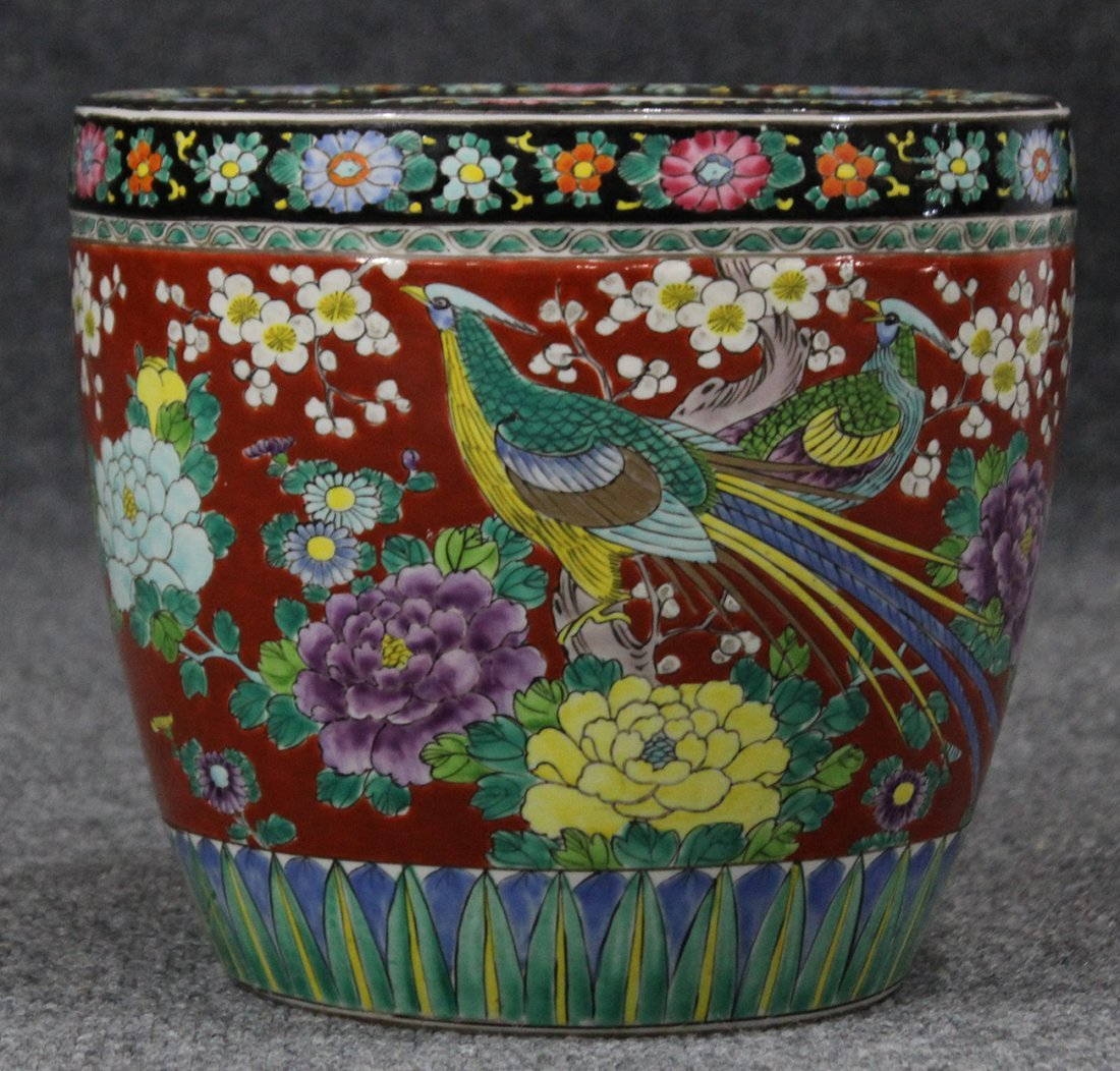 Quality Japanese Porcelain Planter Ornate Design Birds