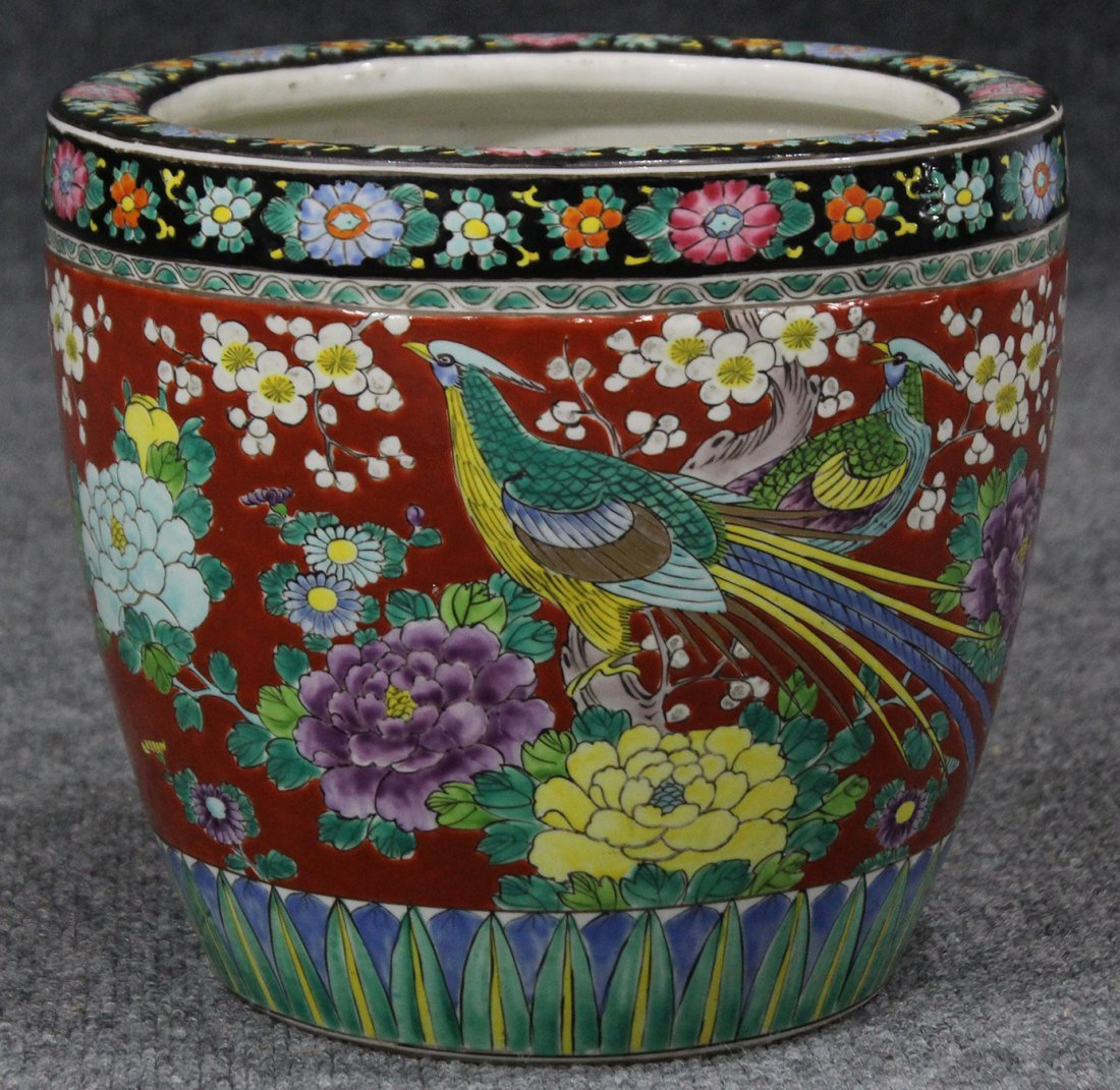 Quality Japanese Porcelain Planter Ornate Design Birds - 2