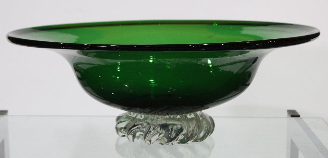 BALBOA Green Venetian Glass Center Bowl Clear Base