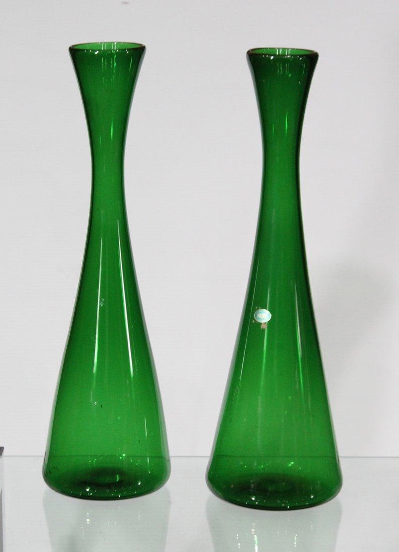 Pair BALBOA Green VENETIAN GLASS TALL VASES
