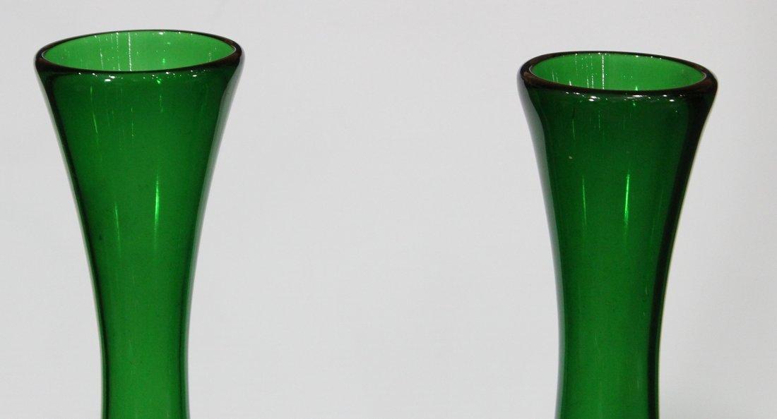 Pair BALBOA Green VENETIAN GLASS TALL VASES - 2