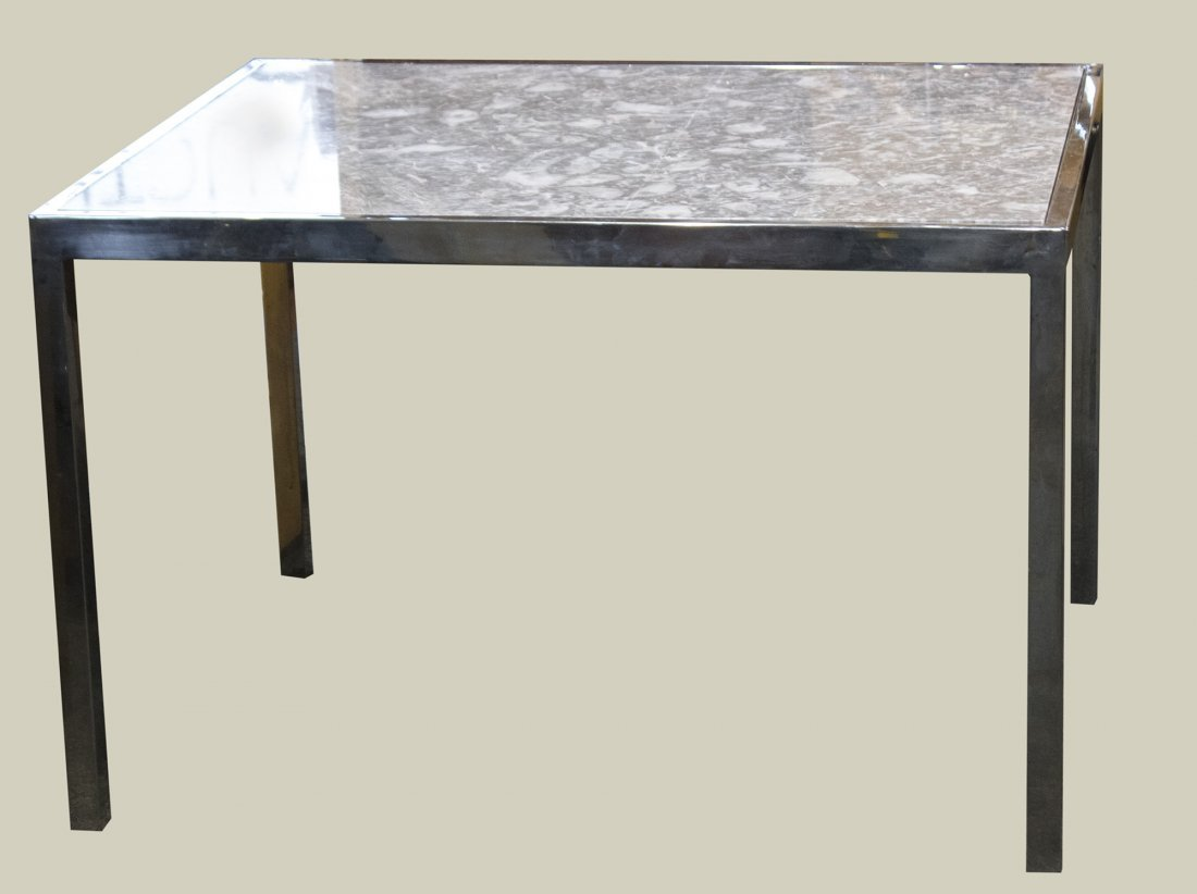MILO BAUGHMAN CHROME AND MARBLE TOP DINETTE TABLE