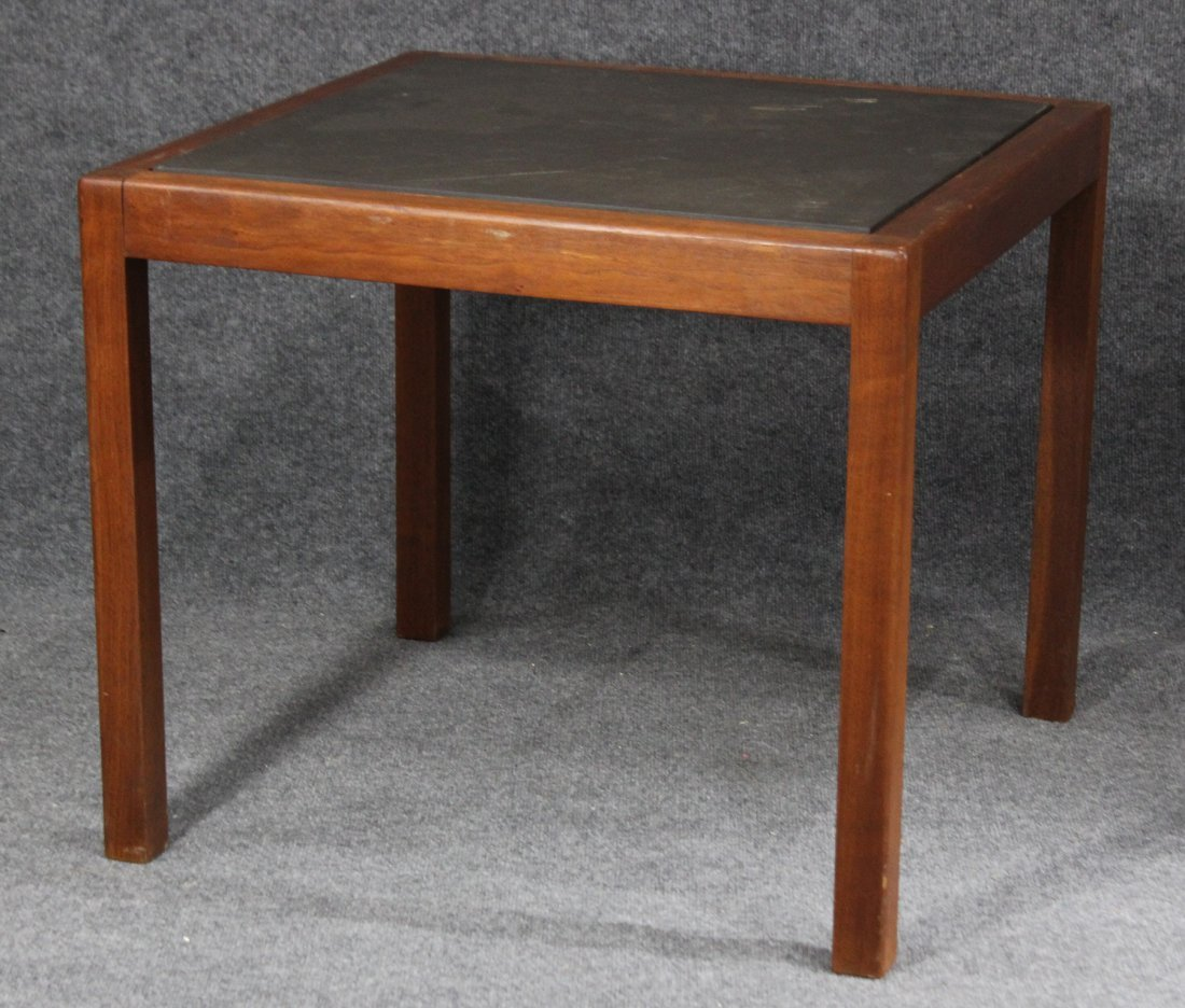MID CENTURY MODERN TEAK SLATE TOP OCCASIONAL TABLE