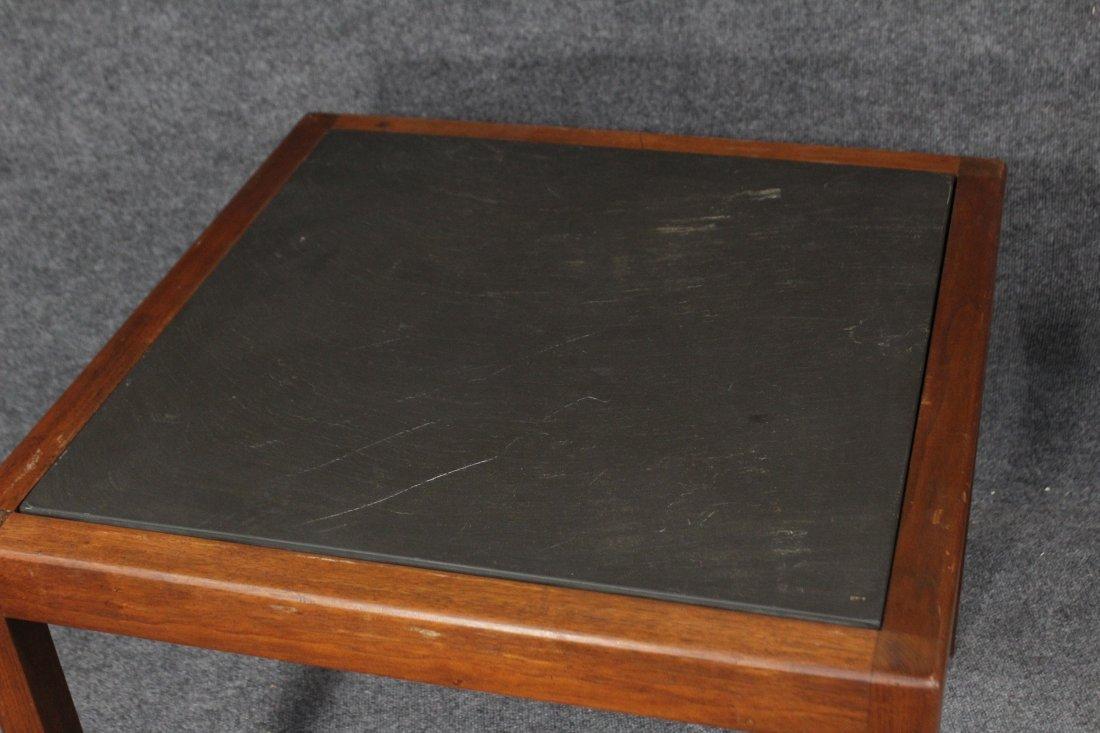 MID CENTURY MODERN TEAK SLATE TOP OCCASIONAL TABLE - 2