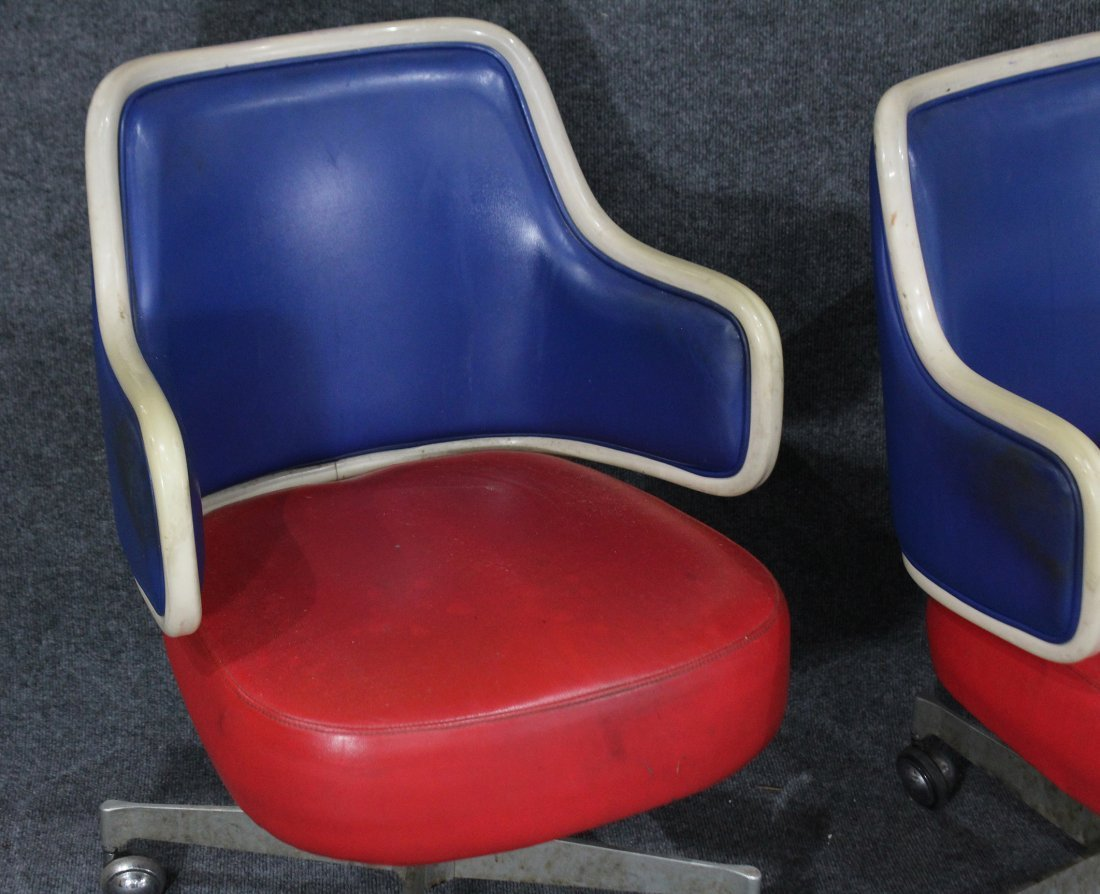 GASSER CHAIR CO. Two [2] RED WHITE BLUE SWIVEL CHAIRS - 2