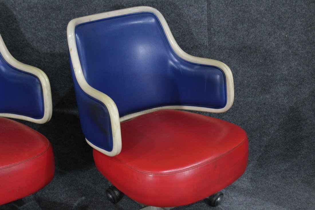 GASSER CHAIR CO. Two [2] RED WHITE BLUE SWIVEL CHAIRS - 3