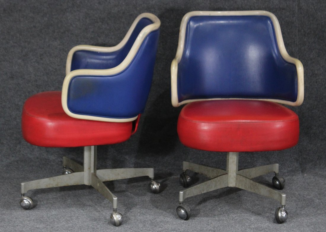 GASSER CHAIR CO. Two [2] RED WHITE BLUE SWIVEL CHAIRS - 4