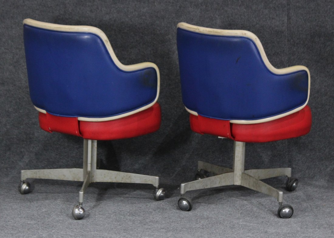 GASSER CHAIR CO. Two [2] RED WHITE BLUE SWIVEL CHAIRS - 5