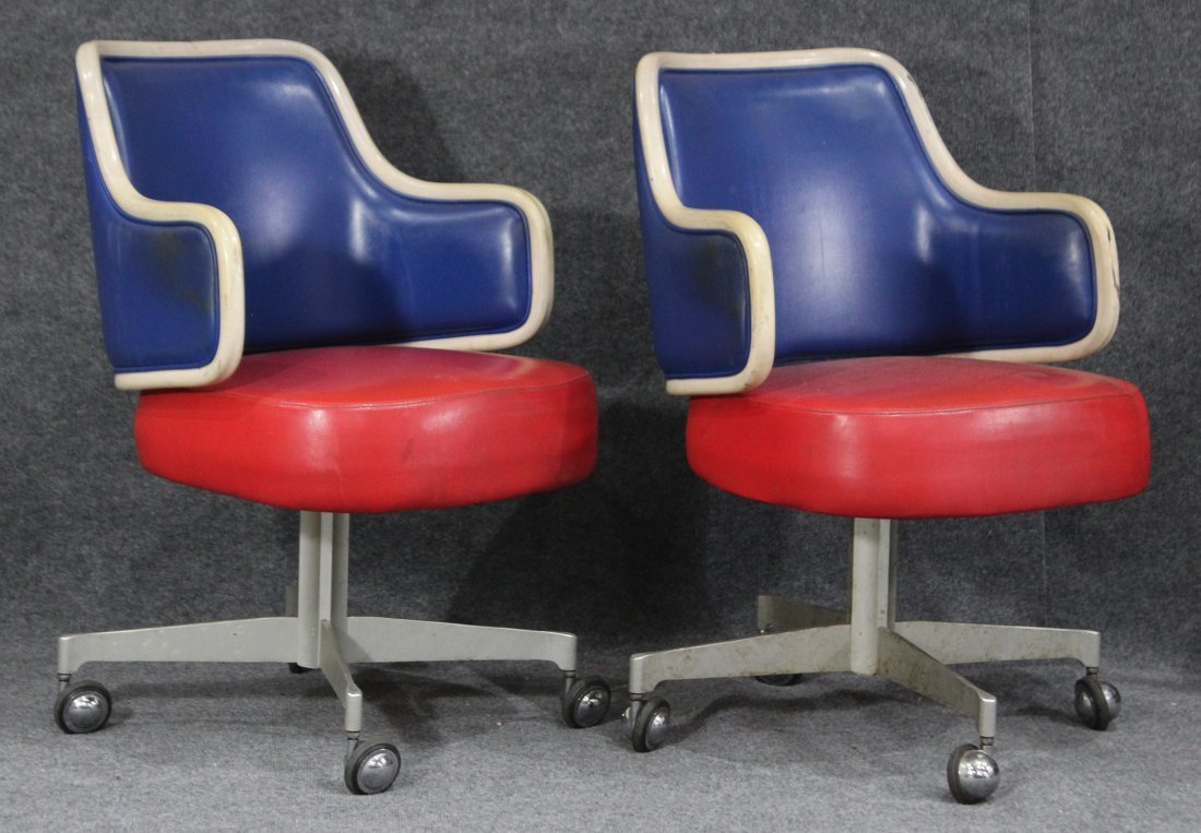 GASSER CHAIR CO. Two [2] RED WHITE BLUE SWIVEL CHAIRS