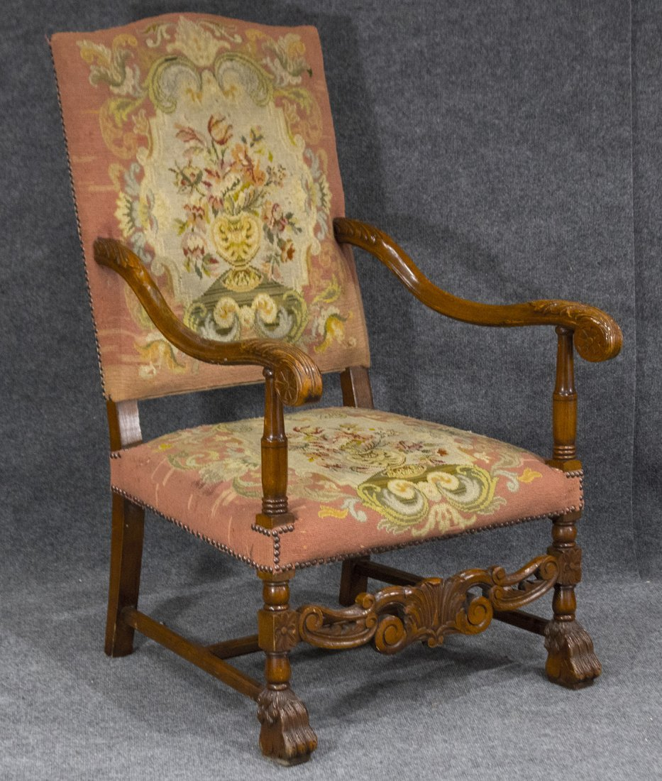 19th C. NEEDLEPOINT BACK AND SEAT THRONE ARM CHAIR