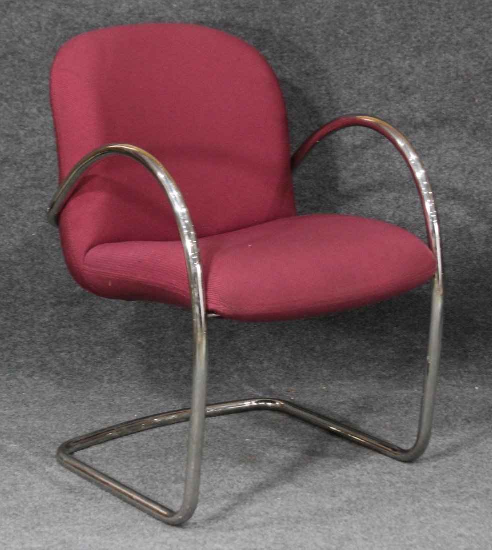 MILES VAN DER RHOE Style TUBULAR CHROME ARM CHAIR