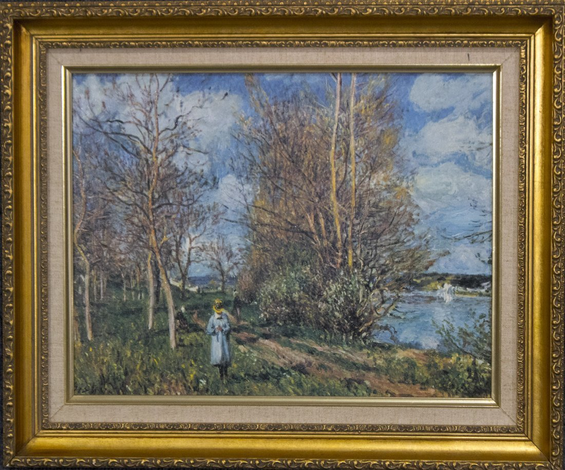 After ALFRED SISLEY Figure in Landscape Print on Canvas