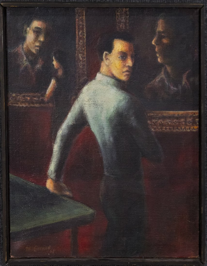 McGEEHAN 1965 Oil/c YOUNG HANDSOME MAN IN ART GALLERY