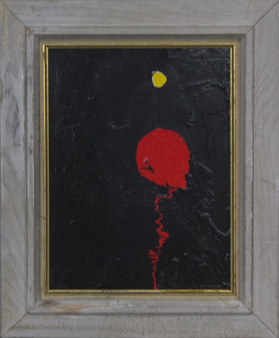 MID-CENTURY MODERN ABSTRACT OIL/b RED BLOB ON BLACK