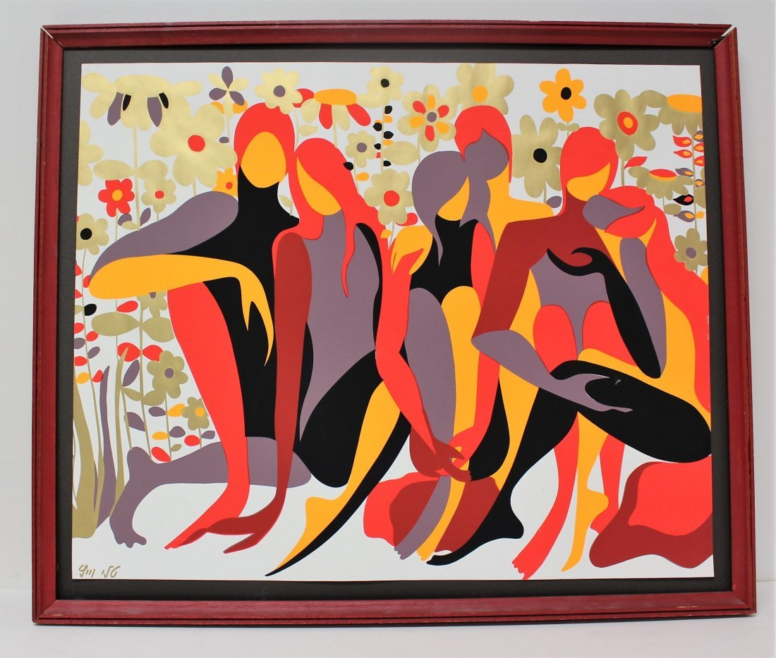 MID-CENTURY MODERN 1956 SILKSCREEN FIGURES IN GARDEN - 3