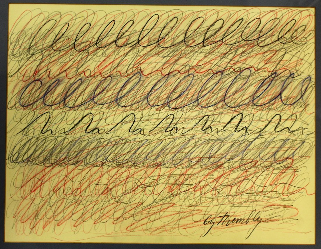 CY TWOMBLY  (1928 - 2011) Colored Graphite ABSTRACT